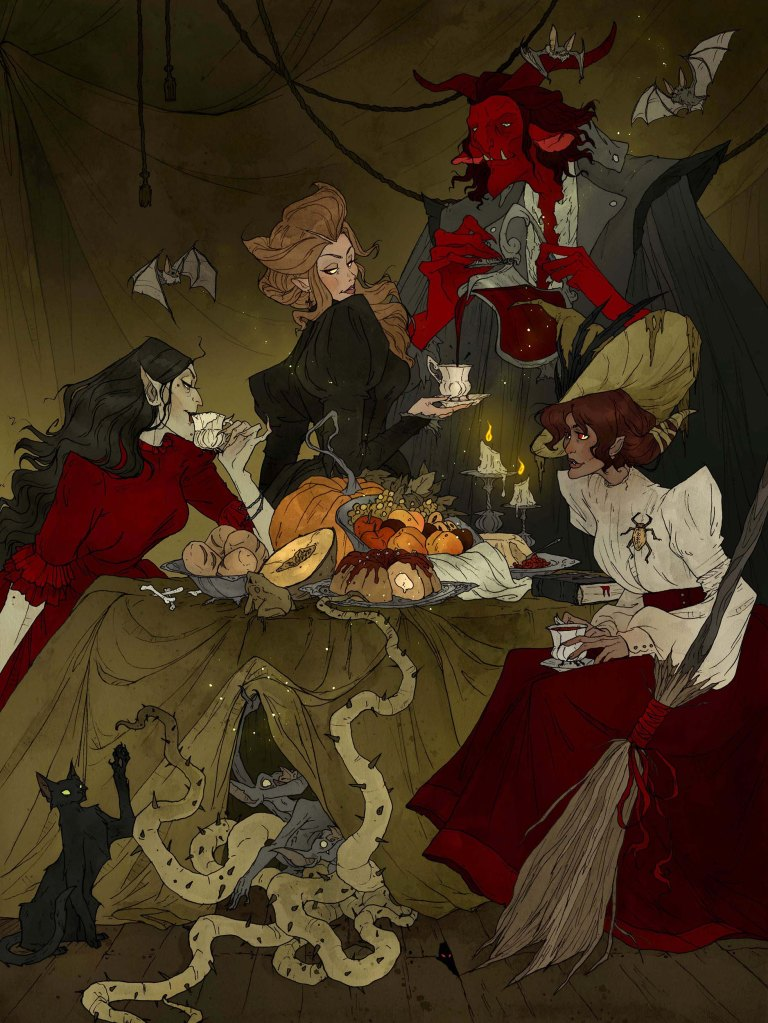 Bloodthirsty beasts and beldames enjoy a bewitching banquet
