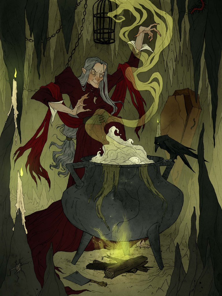 Inside a creepy old cave a crone conjures a chilling concoction in her cavernous cauldron