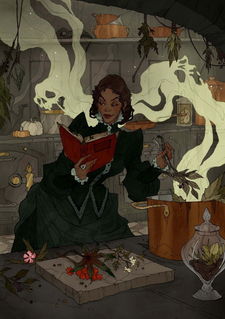 Pieces of poisonous plants are placed into a putrid potion to procure perilous premonitions
